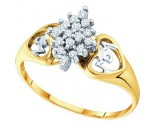 Diamond Mom Cocktail Ring 10K Yellow Gold 0.15 cts. GD-10237