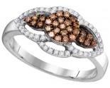 Cognac Diamond Fashion Ring 10K White Gold 0.35 cts. GD-104440
