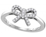 Diamond Bow Fashion Ring 10K White Gold 0.16 cts. GD-105858