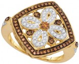 Ladies Cognac Diamond Ring 10K Yellow Gold 0.40 cts. GD-106852