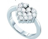 Ladies Diamond Heart Ring 14K White Gold 1.00 ct. GD-12058