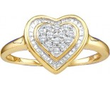 Ladies Diamond Heart Ring 10K Yellow Gold 0.10 cts. GD-15426