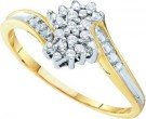 Diamond Cocktail Ring 10K Yellow Gold 0.10 cts. GD-15864