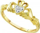 Ladies Diamond Heart Ring 10K Yellow Gold 0.02 cts. GD-18135