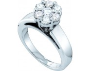 Ladies Diamond Cluster Ring 14K White Gold 1.00 ct. GD-18678