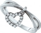 Ladies Diamond Heart Ring 14K White Gold 0.10 cts. GD-26168