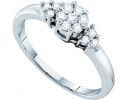 Ladies Diamond Cluster Ring 14K White Gold 0.25 cts. GD-26795 [GD-26795]