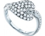 Ladies Diamond Heart Ring 14K White Gold 0.69 cts. GD-30310