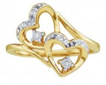 Ladies Diamond Heart Ring 10K Yellow Gold 0.10 cts. GD-35443
