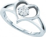 Ladies Diamond Heart Ring 10K White Gold 0.10 cts. GD-35690