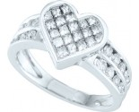 Ladies Diamond Heart Ring 14K White Gold 1.00 ct. GD-38793