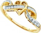 Ladies Diamond Heart Ring 10K Yellow Gold 0.10 cts. GD-39034