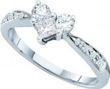 Ladies Diamond Heart Ring 14K White Gold 0.54 cts. GD-39101