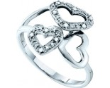 Ladies Diamond Heart Ring 10K White Gold 0.03 cts. GD-40301