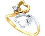 Ladies Diamond Heart Ring 10K Two Tone Gold 0.03 cts. GD-41098