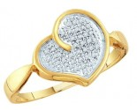 Ladies Diamond Heart Ring 10K Yellow Gold 0.10 cts. GD-46689