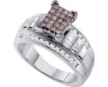 Cognac Diamond Engagement Ring 14K White Gold 1.00 ct. GD-47193