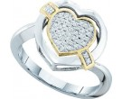 Diamond Heart Ring 10K White Gold 0.14 cts. GD-50385
