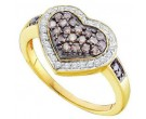 Champagne Diamond Heart Ring 14K Yellow Gold 0.51 cts. GD-51724