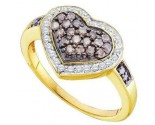 Chocolate Diamond Heart Ring 14K Yellow Gold 0.51 cts. GD-51724