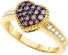 Champagne Diamond Heart Ring 14K Yellow Gold 0.47 cts. GD-51844