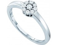 Ladies Diamond Flower Ring 14K White Gold 0.20 cts. GD-53062 [GD-53062]