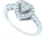 Diamond Heart Ring 14K White Gold 0.35 cts. GD-54888