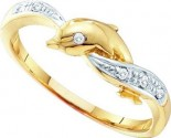 Ladies Diamond Dolphin Ring 10K Yellow Gold 0.04 cts. GD-55838
