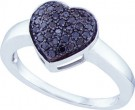Ladies Diamond Heart Ring 10K White Gold 0.29 cts. GD-60163