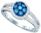 Blue Diamond Fashion Ring 10K White Gold 0.48 cts. GD-60542