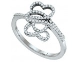 Ladies Diamond Heart Ring 10K White Gold 0.20 cts. GD-64664