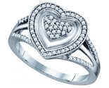 Ladies Diamond Heart Ring 10K White Gold 0.25 cts. GD-64683