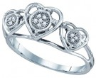 Ladies Diamond Heart Ring 10K White Gold 0.03 cts. GD-64925