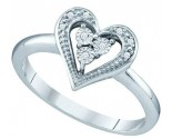 Ladies Diamond Heart Ring 10K White Gold 0.02 cts. GD-65113