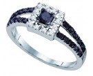 Black Diamond Bridal Ring 10K White Gold 0.58 cts. GD-65259