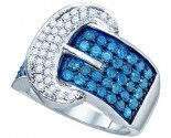 Blue Diamond Buckle Band 10K White Gold 1.88 cts. GD-65664