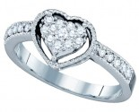 Ladies Diamond Heart Ring 14K White Gold 0.32 cts GD-66889