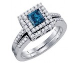 Blue Diamond Bridal Set 14K White Gold 0.85 cts. GD-67022