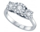 Ladies Diamond Cluster Ring 14K White Gold 0.67 cts. GD-69606