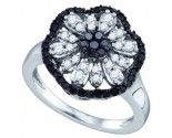 Diamond Flower Cocktail Ring 10K White Gold 0.72 cts. GD-71544