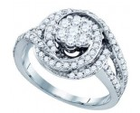 Ladies Diamond Flower Ring 10K White Gold 1.04 cts. GD-71578