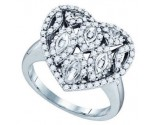 Ladies Diamond Heart Ring 10K White Gold 0.82 cts. GD-71799