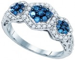 Blue Diamond Fashion Ring 10K White Gold 0.75 cts. GD-72235