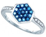 Blue Diamond Fashion Ring 10K White Gold 0.35 cts. GD-72293