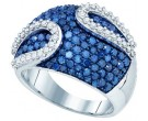 Ladies Blue Diamond Ring 10K White Gold 2.00 ct. GD-72300