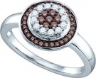 Brown Diamond Flower Ring 10K White Gold 0.30 cts. GD-72377