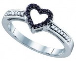 Ladies Diamond Heart Ring 10K White Gold 0.12 cts. GD-72378