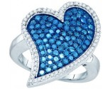 Blue Diamond Heart Ring 10K White Gold 1.50 cts. GD-72380