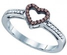 Ladies Diamond Heart Ring 10K White Gold 0.12 cts. GD-72382