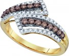 Cognac Brown Diamond Band 10K Yellow Gold 0.54 cts. GD-72447